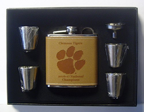 University of Clemson Tigers 2017 National Champions Leather 6 oz engraved stainless steel flask with 4 stainless steel shotglasses and a funnel in a black presentation box -