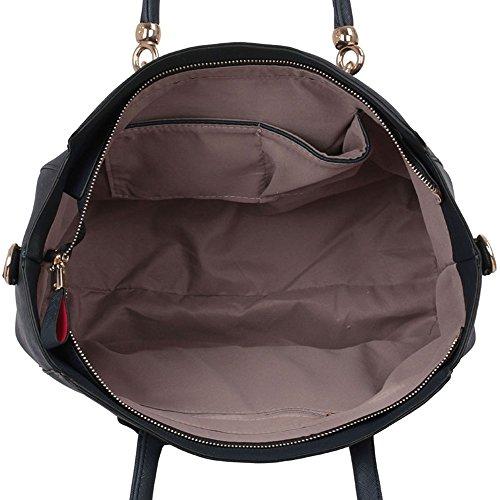 LeahWard® Damen Mode Essener Berühmtheit Polished Metal Schulter Handtasche Qualität Kunstleder Stil Umhängetasche CWS00149 Marine Blau