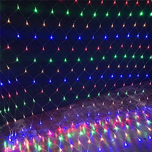 ARTSTORE 3M 200LEDs Led Net Mesh Fairy String Lights,8 Modes Outdoor/Indoor Lights Plug Powered for Christmas Xmas Garden Wedding Party Home Bedroom Decoration,Colorful ()