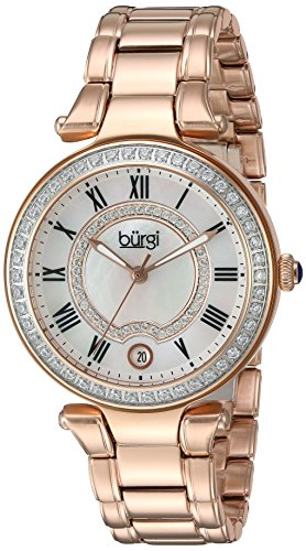 Burgi Women's White Mother-of-Pearl Dial with Swarovski Crystal Accents and Rose-Tone Stainless Steel Bracelet Watch BUR165RG