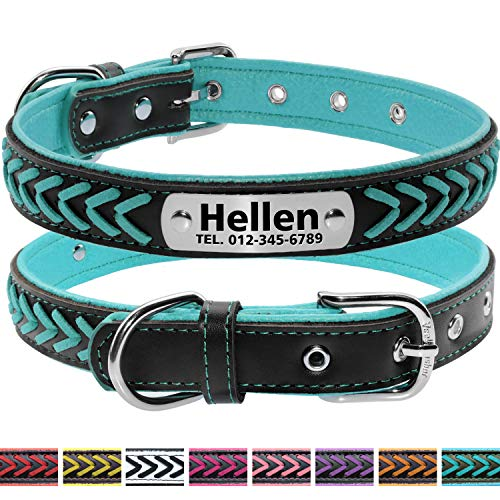 Vcalabashor Custom Leather Dog Collar/Braided Genuine Leather Name Plated Dog Collars for Small Medium Large/Personalized Engraved On Collar Pet ID Tags/Teal & Black/XS S M L ()