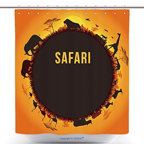 Antibacterial Shower Curtains Vector Illustration Of Africa Landscape With Wildlife And Sunset Background Safari Theme 418757584 Polyester Bathroom Shower Curtain Set With Hooks by