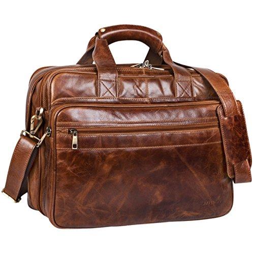STILORD 'Leopold' Large Leather Bag / Shoulder Bag XXL Work Bag / College...