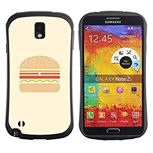 "Hypernova Slim Fit Dual Barniz Protector Caso Case Funda Para Samsung Note 3 [Hamburguesa Hamburguesa Comida rápida minimalista""]"