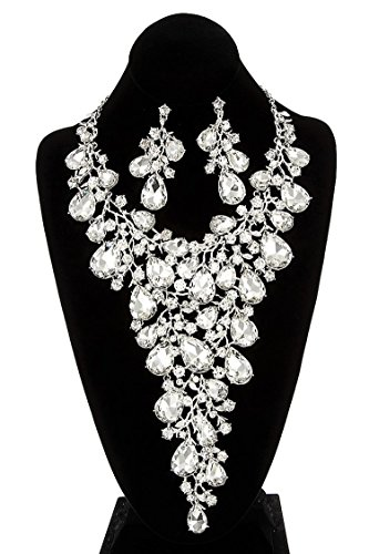 GlitZ Finery Triple Layer Simple Long with Pearl Necklace Set (Rhodium/Cream)