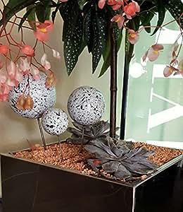 Maceta Conector Juego de 3de acero inoxidable con bolas decorativas en Granito blanco diseño Macetero (Conector de flor