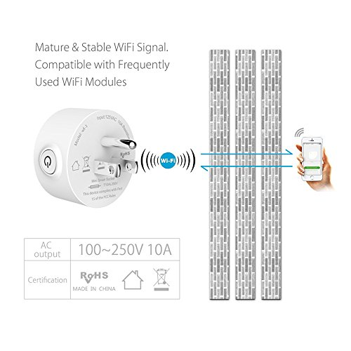 Mini Wifi Smart Socket, No Hub Required Works with Amazon Echo Alexa &  Google Home, Wireless Wi-Fi Smart Timing Plug, Control your Devices from