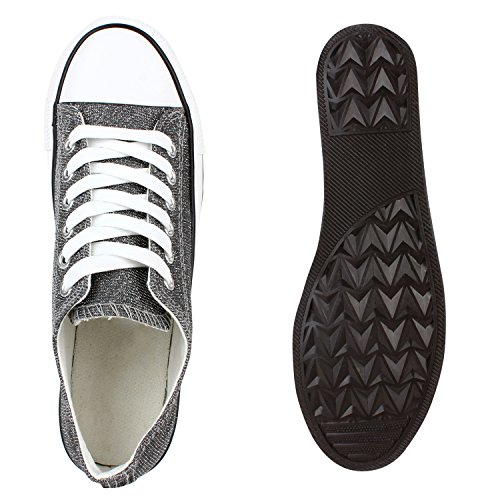 Glänzende Damen Sneakers Glitzer Metallic Sneaker Low Pailletten Flats Turnschuhe Leder-Optik Flandell Silber Brooklyn