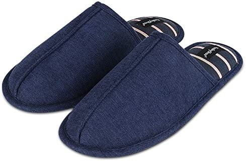 KushyShoo Mens Cotton Breathable Stripe Indoor Outdoor Slippers 12 M US