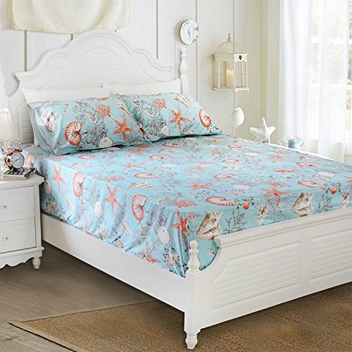 Brandream Queen Size Luxury Nautical Bedding Coastal Beach Themed Sheets  Set 100% Cotton Bed Sheet Set Deep Pocket 4Pcs Fitted Sheet Flat Sheet  Pillowcases ...