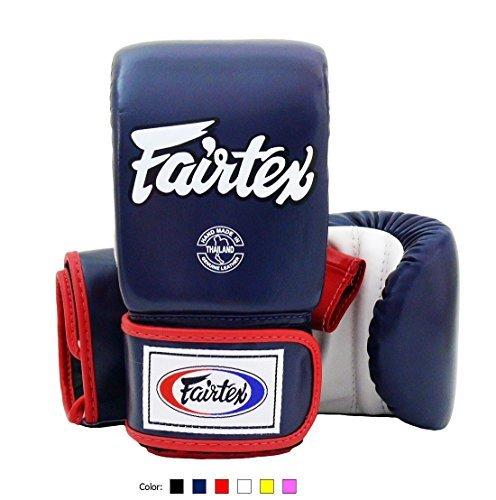 Fairtex Muay Thai Bag Boxing Gloves TGO3 Navy blue/white/red Size M Training gloves for Kickboxing MMA ()