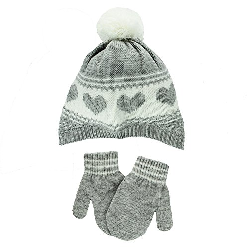 Carter's Infant Girls Knit Winter Ski Hat and Mittens 12-24 (Carters Knit Set)