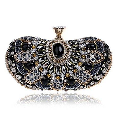 Bags Clutch Small Evening Ym1128black Diamond Wedding Bag Beaded Bag Beaded Women's Shoulder Rhinestone waFvqIBI