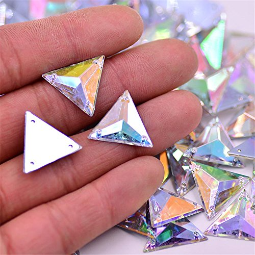Big Bright 60pcs 16mm Triangle Light Crystal AB Acrylic Special Effect 3 Holes Sew on Rhinestones Accessory