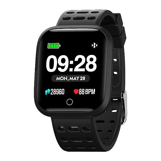 Azorex SmartWatch Multifunción Reloj Inteligente Redondo Deportivo Impermeable IP67, Pulsera Actividad Control Remoto para iOS Android Correa Silicona Negro Q88