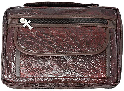 (Garrison Grip Quality CCW Cowhide Leather Brown Alligator Design Bible/Day Planner Cover)