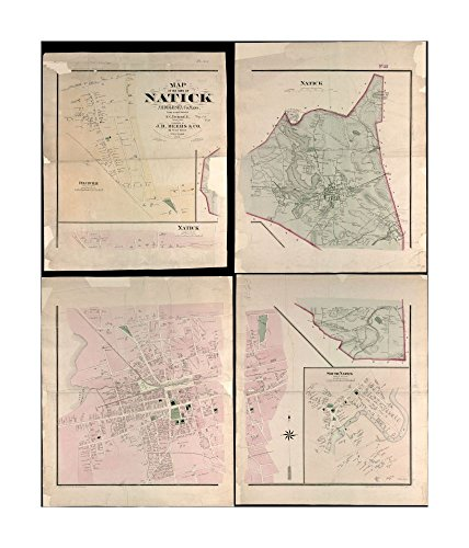 1874 Map Natick of town of Natick Middlesex Co.Mass: from actual surveys Relief shown by hachures.Insets: Felchville, Natick (town center), & South natick.Entered according to act of - Mass Natick Of Map