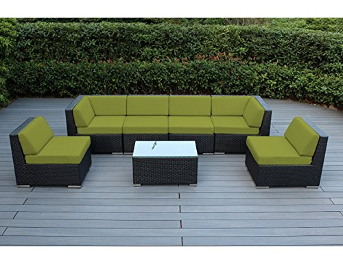 Ohana 7-Piece Outdoor Patio Furniture Sectional Conversation Set, Black Wicker with Peridot Cushions - No Assembly with… - Long lasting, premium all-weather PE resin wicker with superior durability lasts years. Backed by 3 year warranty UV, Water and Fade resistant all-weather, solution-dyed cushion covers boast long standing vibrant colors. Zippered for easy cleaning with Velcro strips to hold cushions together No assembly required - quick & easy set up! Solid chairs with welded frames provide sturdier construction and aesthetically pleasing finish - patio-furniture, patio, conversation-sets - 51Z%2BmR7CNiL -