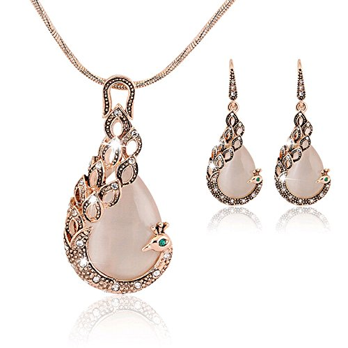 ng 18K Gold Peacock Jewelry Sets Women Crystal Necklace earrings (Antique Gold Jewelry Set)