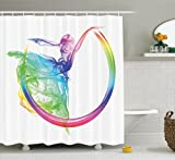 Ambesonne Abstract Home Decor Collection, Smoke Dance Shape Silhouette of Dancer Ballerina Rainbow Colors Fantasy Image, Polyester Fabric Bathroom Shower Curtain, 75 Inches Long, Blue Yellow