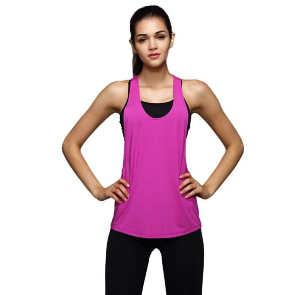 Women Summer Sexy Sleeveless Loose Cami Gym Vest Sport Square Neck Training Top Run V Neck T Shirt Hot Pink by iLUGU (Image #1)