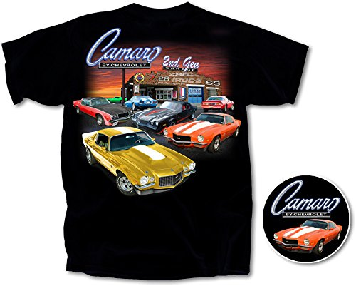 1970 - 1981 Chevy Camaro 2nd Gen Garage T-Shirt Cotton Preshrunk -By Joe Blow T's, Black, X-Large