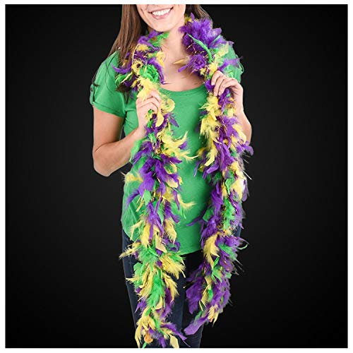 Lumistick Purple Green & Gold Boa with Gold Tinsel (1 Pack) ()