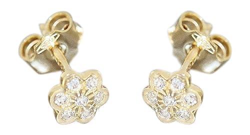 Hobra-Gold Kleine Blumen Ohrstecker Gold 585 Kinder Ohrringe Blümchen 14 kt mit Zirkonias
