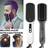 2019 Ionic Beard Straightener Comb, Electrical Heated Irons Hair Straightening Brush for man and women with Faster Heating, PTC Ceramic Technology, Auto Temperature Lock, Anti Scald (black+white)