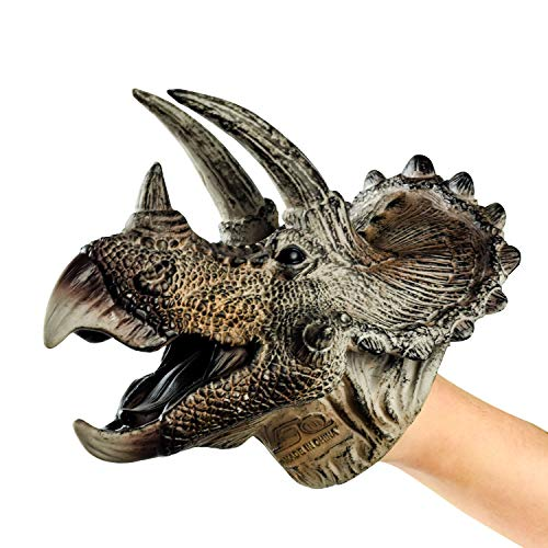 Dlseego Dinosaur Hand Puppets Toys Soft Rubber Realistic Spines Dragon Role Play Toy for Kids and Adult -Triceratops