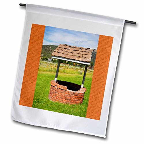 (3dRose Jos Fauxtographee- Wishing Well - A wishing well in Pine Valley Utah with orange on either side - 12 x 18 inch Garden Flag (fl_284182_1))