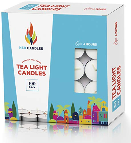 (Tea Lights Candles - 4.5 Hour Burn Time - 100 Pack Bulk Candles - White Unscented - Travel Candles - Shabbat Candles - Long Burn Time)