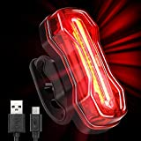 Albrillo Bicycle Tail Light, USB Rechargeable Rear Bike Lights With Waterproof and 6 Light Modes Function, Bright Safety Led Bike Back Light