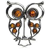 Sterling Silver Amber Owl Pendant Brooch