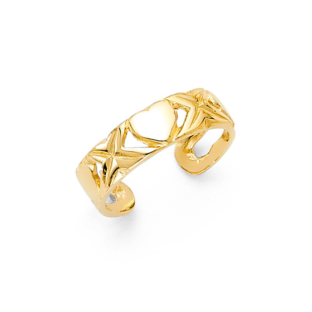 Solid 14k Yellow Gold Heart & X Toe Ring Love & Hugs Toe Band Fancy One Size Fits All 5MM