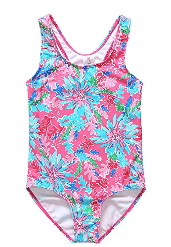 [ALove Big Girl's Shellfish One Piece Swimming Costume Pink 6-7 Years] (Swimming Costume For Womens Online)