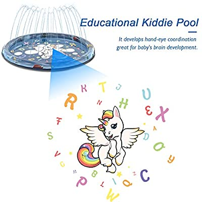 Splash Pad for Toddlers, Upgraded Water Fun Sprinkler for Kids Dogs, Inflatable Baby Wading Pool for Learning, Summer Water Toys for Babys, Outdoor Backyard Splash Sprinkler Pad Mat for Boys Girls: Toys & Games