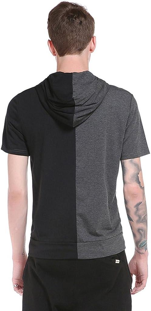 WHATLEES Mens Short Sleeve Hoodie Shirt with Pockets