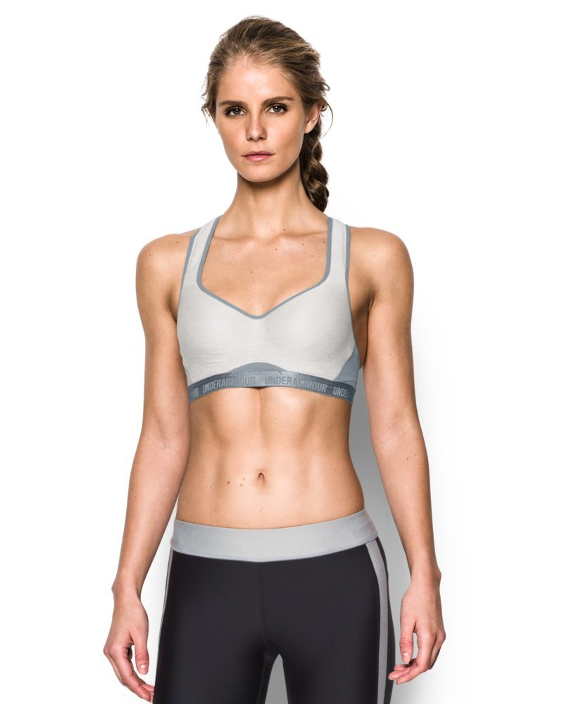 Under Armour Women's Armour High Bra, Air Force Gray Heath/Steel, 32B by Under Armour (Image #1)