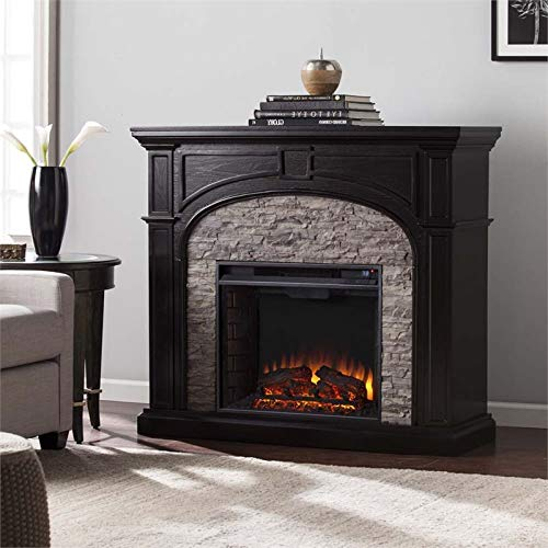 BOWERY HILL Electric Fireplace in Ebony and Gray (Fireplace Hill Electric)