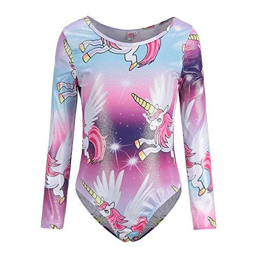 Leotards for Girls Gymnastics Long Sleeved Unicorn Rainbow Purple Sparkly Tank Dancewear (7-8Y, Purple)