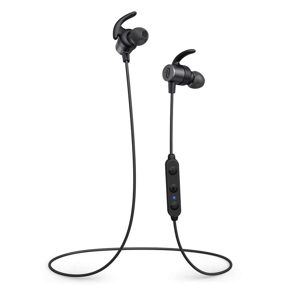TaoTronics Wireless Earphones Bluetooth 5.0 Sports Magnetic Earbuds TT-BH072 aptX HD Audio 14 Hours Playtime Eq Setting CVC 8.0 Noise cancellation Bulit-In Mic IPX6 Waterproof