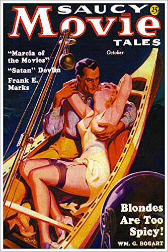 Saucy Movie Tales Blondes are Too Spicy Vintage Pulp Magazine Cover Retro Art Poster - 24x36