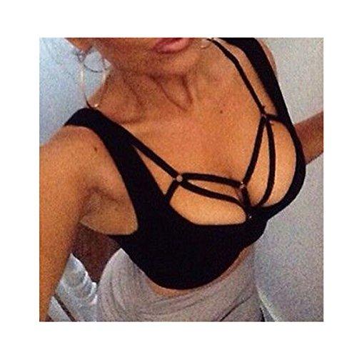 Fancy Love Harness Body accessories Black Belt Elastic Cupless Cage Bra Body Jewelry Chain Necklace Choker For Women (2) - Black Strap Jewelry