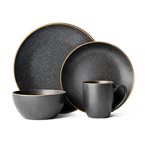(Gourmet Basics by Mikasa 5227858 Juliana Dinnerware Set, 16 Piece, Black)