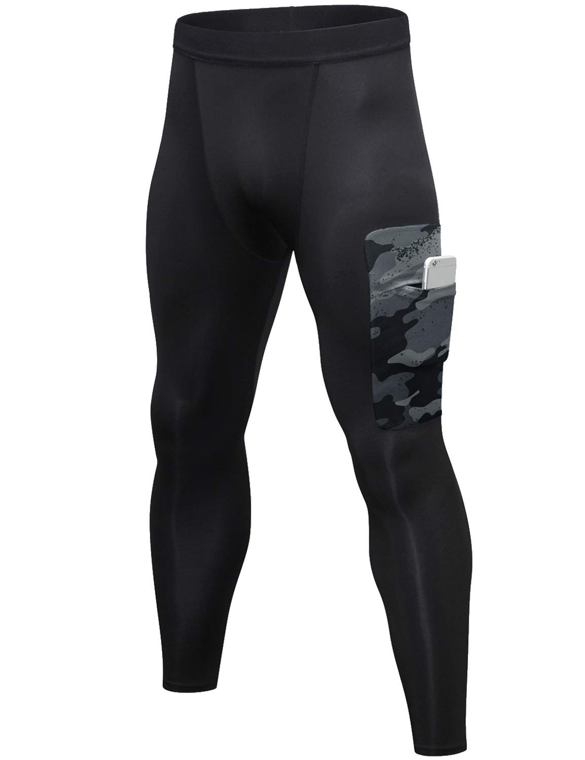 Lavento Men's Compression Pants Baselayer Cool Dry Pocket Running Ankle Leggings Active Tights (1 Pack-3920 Black/Gray,Large) by Lavento