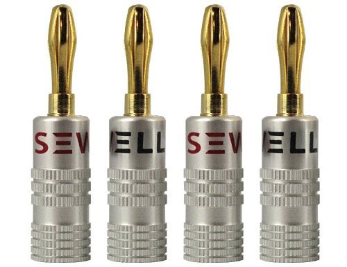 Sewell Silverback Banana Plugs, Dual Screw Lock, 2 pair (Banana Connector Dual)