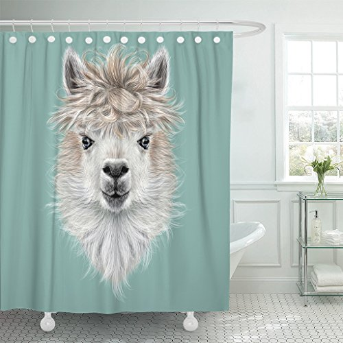 TOMPOP Shower Curtain America Llama Animal Portrait of Alpaca on Blue Cute Waterproof Polyester Fabric 60 x 72 Inches Set with Hooks by TOMPOP