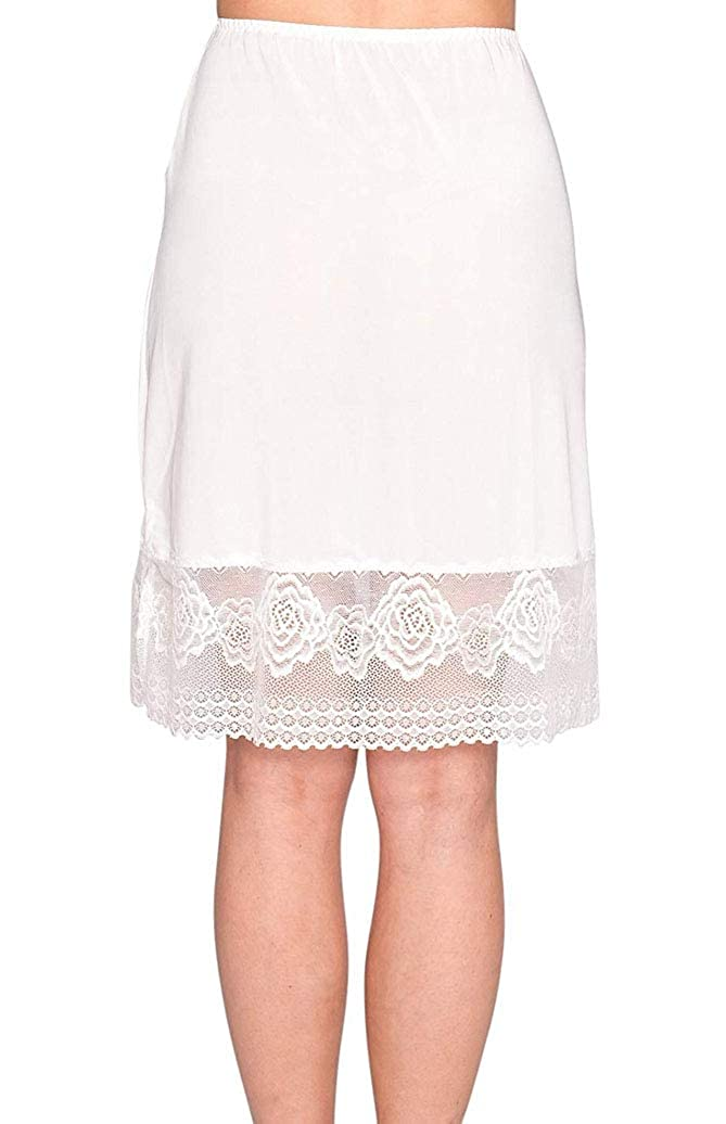 Lesimsam Women's Lace Trim Knee Length Anti-Static Half Slip Snip
