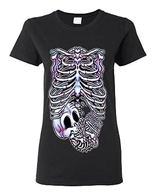 Lifestyle39 Skeleton Maternity Halloween Pregnancy Women's Shirt, Pregnant Skeleton Shirt, Skull Halloween Costume